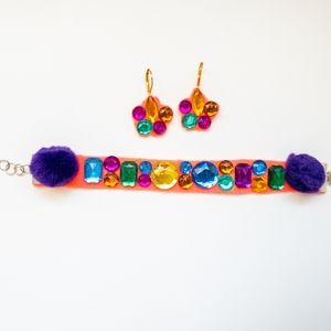Set Handmade Bracelet and earrings Neon pink
